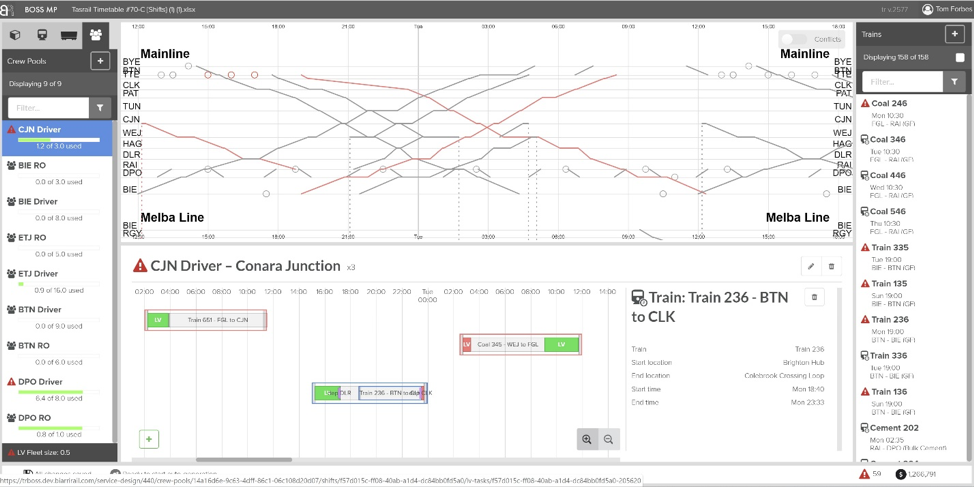 The Planner screen presents real time approaching train information and allows the planner to assign trains to northbound and southbound windows.